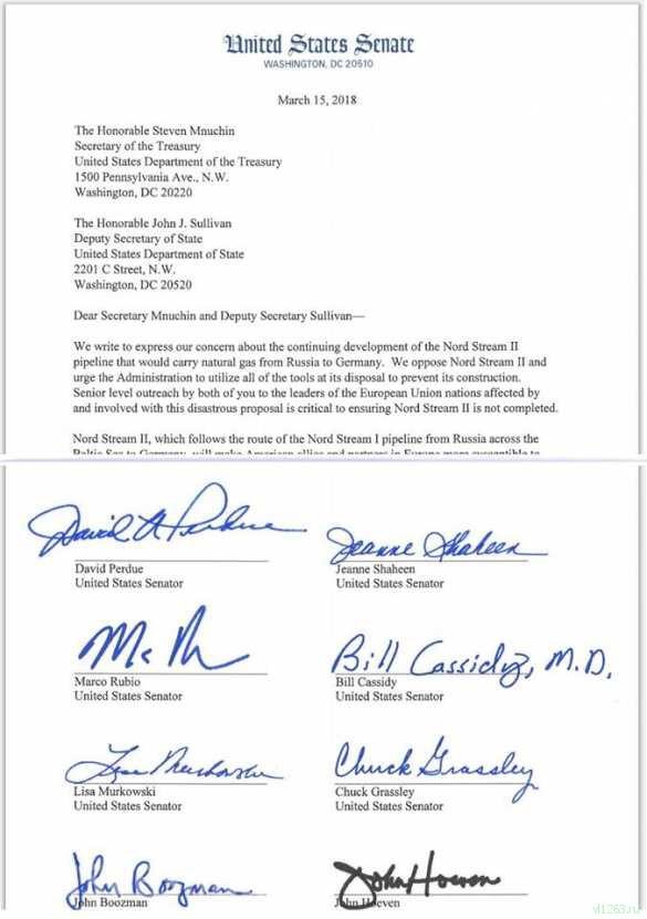 В США сенаторы потребовали от властей заблокировать «Северный поток — 2» (ДОКУМЕНТ) | Русская весна